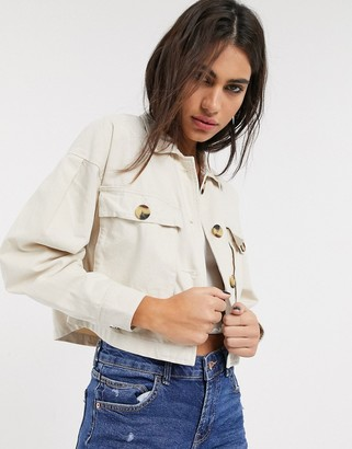 Bershka canvas jacket in ecru