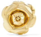 Oscar de la Renta Rosette Gold-tone Brooch