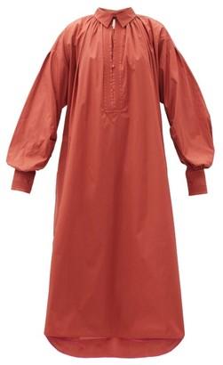 Roksanda Adela Balloon-sleeve Cotton-poplin Dress - Light Red