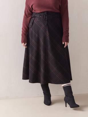 Plaid Bias Belted Skirt - Addition Elle
