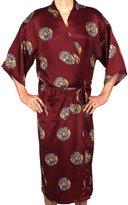 Evolatree Men's Oriental Mandala Motif - Silky Satin Robe - S