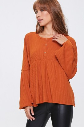 Forever 21 Ribbed Bell-Sleeve Top