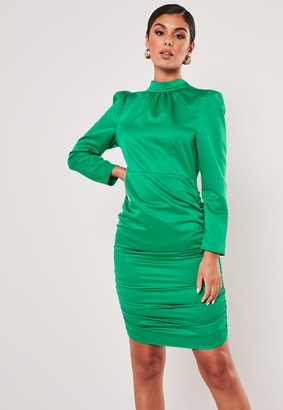 Missguided Petite Green Satin High Neck Ruched Mini Dress