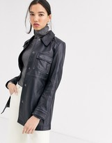 Muu Baa Muubaa longline leather jacket in navy