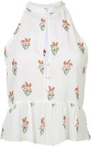 A.L.C. peach print ruffled blouse - women - Silk - 2
