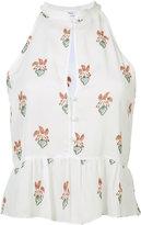 A.L.C. peach print ruffled blouse - women - Silk - 2