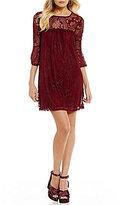 Xtraordinary 3/4 Bell Sleeve Lace Shift Dress