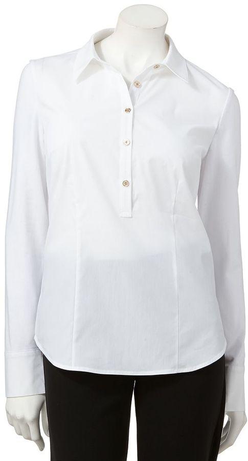 Dana Buchman solid mixed-media shirt