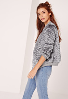 Missguided Faux Wool Bomber Jacket Grey