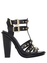 120mm Studded Smooth Leather Sandals