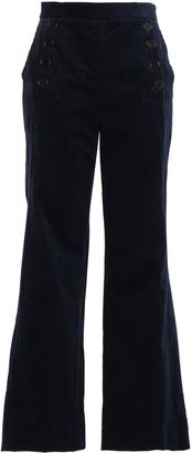 Sandro Button-detailed Stretch-cotton Corduroy Flared Pants