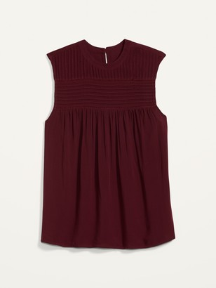 Old Navy High-Neck Pleated-Yoke Sleeveless Top for Women