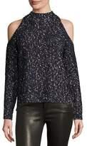 Rebecca Taylor Boucle Cold-Shoulder Mock-Neck Sweater, Black