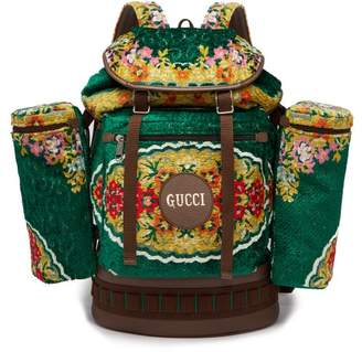 Gucci Alpina Floral-velvet Backpack - Womens - Green Multi