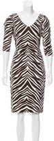 David Meister Silk Zebra Print Dress