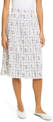 KHAITE Floral Print Gathered Skirt
