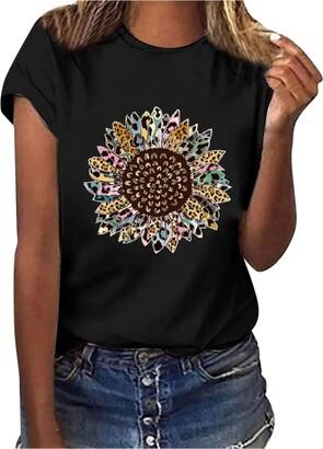 jieGorge Blouse Women Elegant Women Casual Letter Printing Short Sleeves O-Neck Loose T-Shirt Blouse Tops