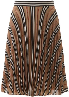 Burberry Pleated Skirt With Logo