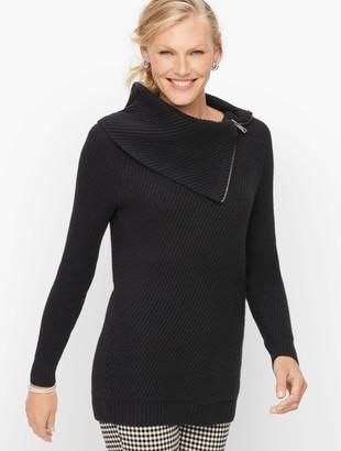 Talbots Split Neck Cotton Blend Sweater