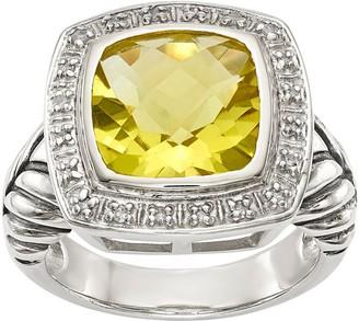 Sterling 3.60 ct Lemon Quartz & Diamond Ring