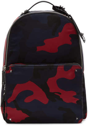 Valentino Navy and Red Garavani Camo Backpack