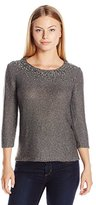Ruby Rd. Women's Petite Size Embellished Scoop-Neck Metallic Tape Yarn Pullover Sweater