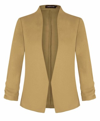 MINTLIMIT Womens 3/4 Sleeve Blazers Tailored Jacket Formal Suit Black XL