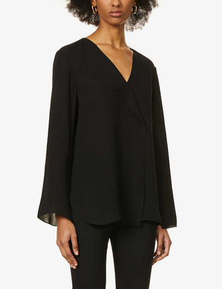 Theory Flared-sleeve V-neck silk-crepe top