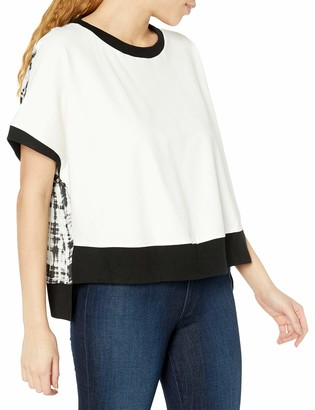 Blanc Noir Women's Oversized Silk Printed Short Sleeve Pullover