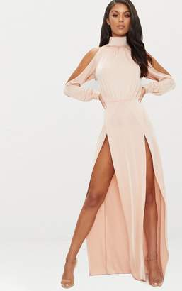 PrettyLittleThing Nude High Neck Double Extreme Split Maxi Dress