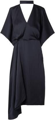 Roland Mouret Meyers Asymmetric Hammered Silk-satin Midi Dress