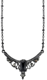 "Downton Abbey Black-Tone Edwardian with Black Baguette Center Collar Necklace 16"" Adjustable"