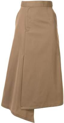 G.V.G.V. asymmetric gabardine midi skirt