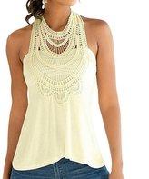 Fashion Story Women Lace Floral Crochet Sleeveless Halter Backless Blouse Vest Shirt Tank Top