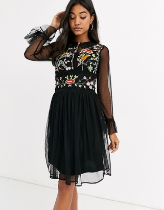 Frock and Frill mesh long sleeve embroidered detail collar dress-Black