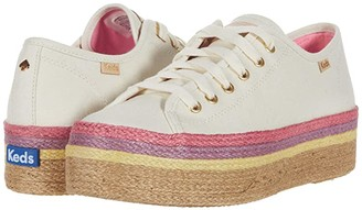 Keds x kate spade new york Triple Up Neon Raffia (Natural Multi Canvas) Women's Shoes