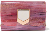 Jimmy Choo Lockett Glittered Acrylic Clutch - Pink