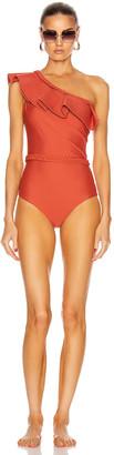Johanna Ortiz Love Affair with Belt One Piece Swimsuit in Paprika Red | FWRD