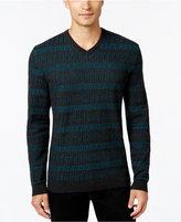 Alfani Collection Men's Horizonal Chevron Stripe V-Neck Sweater, Regular Fit