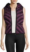 Blanc Noir Satin Mesh-Inset Puffer Vest, Blackberry