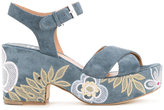 Laurence Dacade embroidered denim sandals - women - Calf Leather - 36