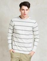 Saturdays Nyc White James Marled Striped Pocket T-shirt