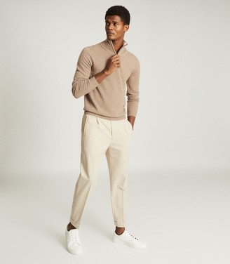 Reiss ROYAL CASHMERE ZIP NECK JUMPER Taupe