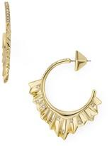 Alexis Bittar Crystal Encrusted Pleated Hoop Earrings