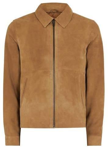 Topman Mens Brown Tan Suede Harrington Jacket