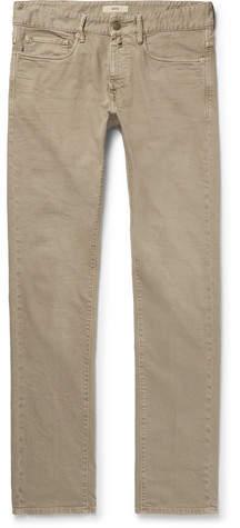 Incotex Slim-Fit Stretch-Denim Jeans - Men - Gray green