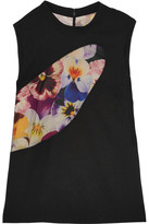 Christopher Kane Tulle-paneled Printed Wool-crepe Top - Black