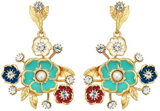Sole Society SOLE / SOCIETY Drama Bouquet Earrings (12K Soft Polish Gold/Ivory/Crystal/Multicolor) Earring