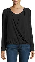 Neiman Marcus Long-Sleeve Faux-Wrap Blouse, Black