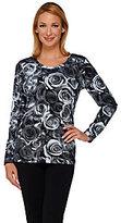 Denim & Co. As Is Rose Printed Scoop Neck Long Sleeve Top